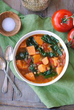 Vegan Sweet Potato and Lentil Soup.