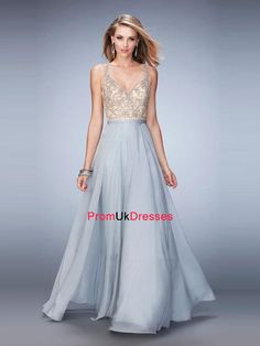 A-line V-neck beaded parttern throughout the top chiffon Prom Dress PD12224