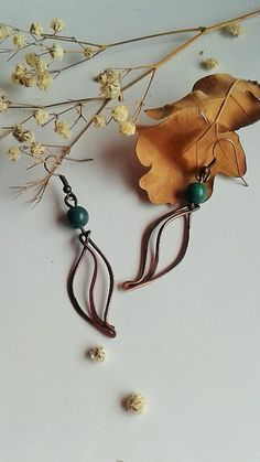 Copper wire leaf earrings with natural Jade stone by Tangledworld