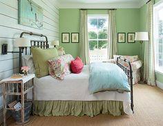 Athens Farm Bungalow Bedroom, Home Bedroom, Bedroom Green, Pretty Bedroom, Bedroom Decor, Cottage Bedrooms, Green Bedding, Entryway Decor, Bedroom Ideas