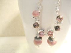 Rhodonite Stick Earrings by TheChiMuse on Etsy, $29.00