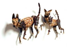 Animal Sculptures made from found objects by Geoffrey Gorman Dog Sculpture, Sculpture Painting, Animal Sculptures, Steampunk Animals, Found Object Art, Junk Art, Assemblage Art, Dog Art, Collage Art