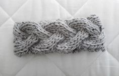 Braided Knit Headband.  Nice pattern.  Bow Dazzling Volunteers, please use a soft non-wool yarn, something that would be comfortable against tender skin.