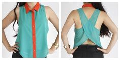 Cross Fly Button Down Tank Top - If you are into fresh and diverse designs like we are, then this is the top for you. This button down blouse with a turn down collar in sheer chiffon begins to diverge from the neck and shoulders as it moves along to the back. On the back there is a cross fly design ready to turn into a pair of wings at any moment. Throw this on a soar above the fashionably unconscious. (www.soieshop.com)