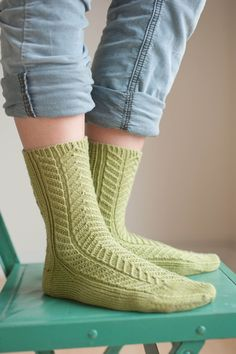 Pear Galette socks...pattern (ann budd) and yarn available via Quince & Co.
