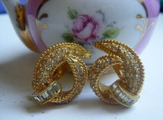 Hattie Carnegie Gold Rhinestone Earrings