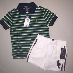 BOYS 2 2T RALPH LAUREN STRIPE POLO SHIRT PONY SHORTS OUTFIT SET NWT