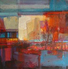Evening Light Feaney Fields, mixed media