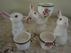 Trio of Porcelain Bunny Egg Holders by YuletidePast on Etsy, $21.00