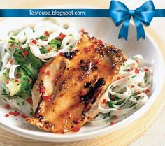 Rice noodles with lemon chicken recipe