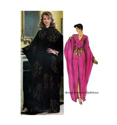 1980s WOMENS CAFTAN PATTERN V-Neck Boho Evening Caftan Gown Dress Vogue 8099 UNCuT Womens Sewing Patterns Bust 34 36 Size 12 14 Medium by DesignRewindFashions on Etsy