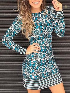 Ethnic Round Neck Long Sleeve Printed Bodycon Dress For Women