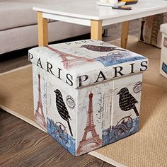 SoBuy Storage Ottoman, Folding Seat Box with Removable Cover, Paris Eiffel Tower Pattern, FSS34-K-FR, 38 x 38 x 38 cm