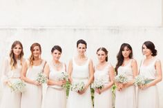 Wedding in Provence : bride and bridesmaids like greek goddess.  Photo by Reego Photographie