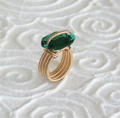 Emerald ring, Emerald Swarovski ring, gold filled #jewelry #ring @EtsyMktgTool http://etsy.me/2gI3YLR
