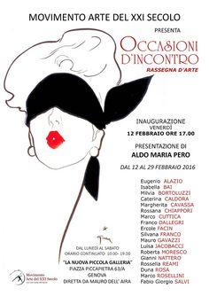 """Inaugura """"Occasioni d'incontro"""", Venerdì 12 febbraio 2016, alle ore 17, presso la Nuova Piccola Galleria di Genova, in piazza Piccapietra 63/A, inaugura la mostra d'arte """"Occasio..."""
