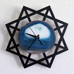 Black & Teal Geometric Agate Wall Clock!!!