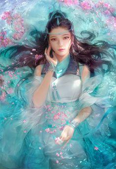 art-of-cg-girls: hello Spring by Da congjun - Anime Art Fantasy Girl, Chica Fantasy, Fantasy Art Women, Beautiful Fantasy Art, Fantasy Warrior, Akali League Of Legends, Fantasy Kunst, China Art, Fantasy Artwork