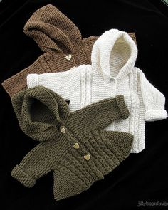 Baby Knits | Baby jackets with hoods and cable detail.Made i… | Flickr