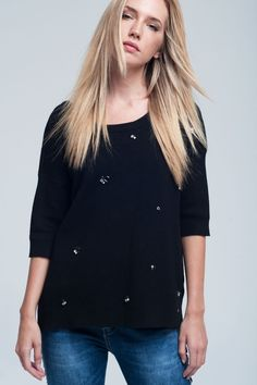 Asymmetric Black Sweater With Pearls And Open Back