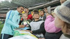 Kid magnet, Socceroo Tim Cahill, making his young fans happy at the Socceroos family day at Adelaide Oval yesterday. Australia plays Saudi Arabia in a World Cup qualifier on Thursday evening. 05.06.17