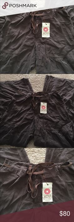 """XCVI - brown soft pants - new (but wrinkled) Small Sorry very wrinkled. New brown soft pants - 32"""" inseam - zip front comes with a string tie #1104 XCVI Pants"""