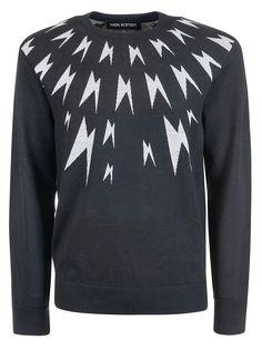 Neil Barrett Thunder Print Sweater In C Neil Barrett, Thunder, Mens Fashion, Wool, Sweaters, Shopping, Clothes, Style, Moda Masculina