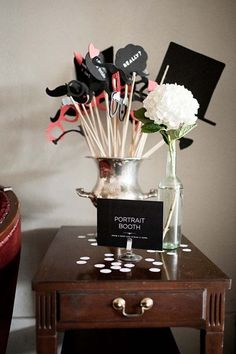 Signage #photo #booth #wedding #top #hat #bouquet #mustache #signs #cute