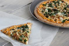 Sweet Potato Pizza with Kale & Caramelized Onions (use #vegan cheese)