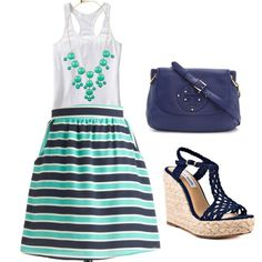 Striped Skirt and JCrew Necklace :)