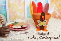 How to make a turkey centerpiece for American Girl dolls! (Click through for tutorial)