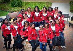 These DST divas celebrate their Deltaversary in style! Delta Sigma Theta Varsity Cardigan #DST