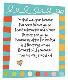 Love this poem to go with the CD I am making for the kids.  Great end of the year gift!: