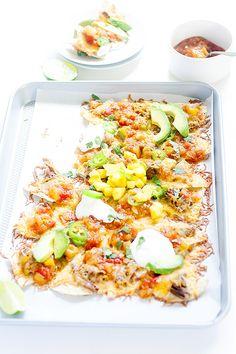 mango habanero sheet pan nachos   wellfloured.com