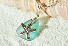 Sea glass necklace starfish necklace blue green pendant