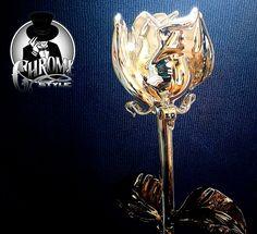 """""""Krómozott"""" üveg rózsa.  http://chromestyle.hu"""
