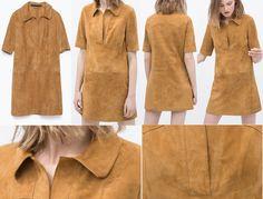 Платье из замши рубашечного кроя