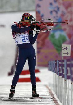 Bjoerndalen wins 7th career Olympic gold in sprint - Norway's Ole Einar Bjoerndalen shoots during the men's biathlon 10k sprint, at the 2014 Winter Olympics, Saturday, Feb. 8, 2014, in Krasnaya Polyana, Russia. (AP Photo/Lee Jin-man)