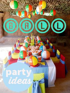 Beach Ball Party.  Super bouncy ideas for a ball party.  Lots of great ideas for a boy or girl birthday party, beach party or summer party.