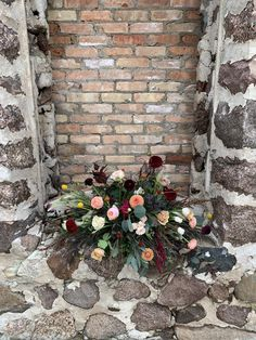 Old Mill Wedding, old stonework. Locally sourced wedding. Locally grown flowers. Burgundy, peach, coral, yellows, creams, dahlias, ranunculus,, amaranths, roses.