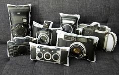 vintage camera inspired pillows