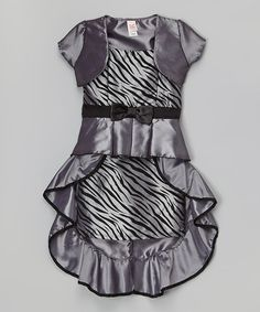 Loving this Gray Zebra Bow Dress & Bolero - Toddler & Girls on #zulily! #zulilyfinds