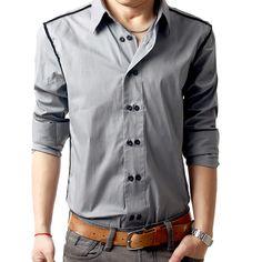 Algodón LIHOMME2012 Hitz abiertas de alambre de doble botonadura hombres casual camisas de manga larga - Edimburgo visitan el bebé - compras Taobao amor -