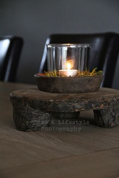 Candle in a glass candle holder on a rustic chunky wooden stool. Home & Lifestyle Photography Rustic Design, Rustic Style, Rustic Decor, Candels, Candle Lanterns, Chandeliers, Deco Nature, Candle In The Wind, Wooden Stools