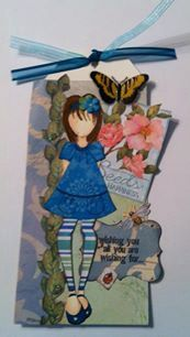Prima Paper Doll Embellished Tag 8.5 X 4.25 by SJPaperCrafting, $6.25
