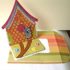 """Folksy :: Buy """"OOAK Unique Handmade New home Owl birdhouse shaped Easel Card """" - Cards New Home Cards, Owl Card, Easel Cards, Baby Cartoon, Bird Houses, New Homes, Diy Projects, Diy Crafts, Shapes"""
