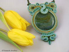 RHAMNI Soutache necklace jewelry pendant by ETSoutacheJewellery