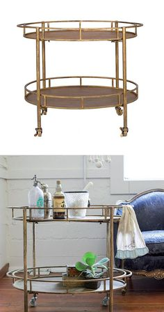 An antiqued gold finish makes this a strikingly stylish bar cart, perfect for welcoming guests. It has two tiers so you can wheel out your drinks during your soirée. All you need is an aperitif or two,...  Find the Gold and Metal Bar Cart, as seen in the Christmas In London Collection at http://dotandbo.com/collections/christmas-in-london?utm_source=pinterest&utm_medium=organic&db_sku=CCO0330