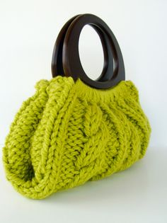 Cable Knit Purse With Wooden Handles - Pear Green - <3 love it, love it <3