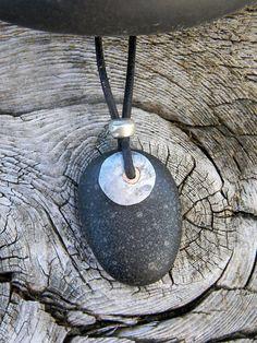 Beach Stone Necklace River Rock Necklace by RavensAlchemyArts